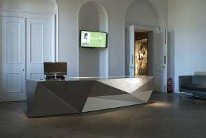Reception desk and entrance foyer interior design