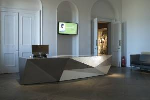 , reception foyer and desk, scottish national gallery of modern art, edinburgh